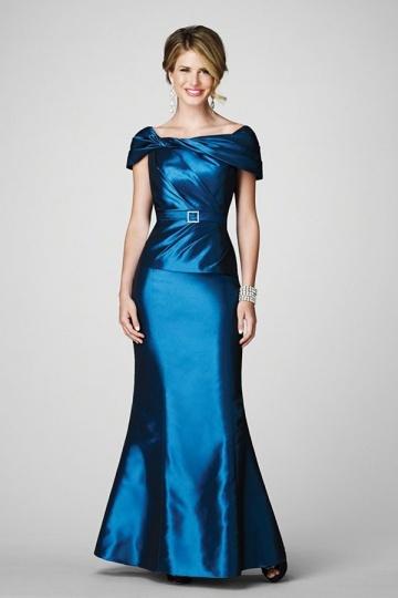 Vestido de noite sereia com cinto em cetim azul personalizada