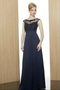 Vestido personalizada de qualquer um idoso renda jóias em Chiffon azul escuro