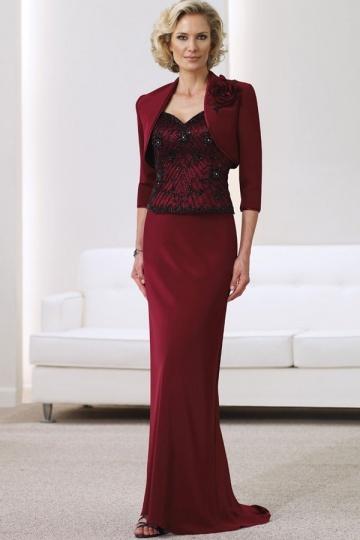 Vestido para idosos rendas alça de seda de cetim cor de vinho