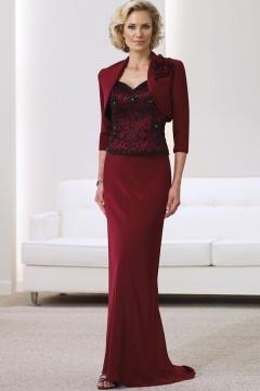 robe pour personne g e dentelle aux bretelle en satin soyeux bordeaux. Black Bedroom Furniture Sets. Home Design Ideas