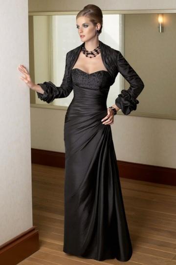 Vestido mãe de noiva bustiê pregueado decote de jóias em tafetá preto