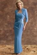 Vestido de mãe de noiva sereia pregueado em Chiffon azul
