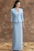 Vestido bustiê de mãe de noiva decorado de miçanga em Chiffon azul