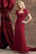 Vestido mãe da noiva vermelho sereia plissado rend Vestido longo