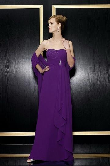 Chiffon Asymmetric Purple Mother of the Bride Dress With Shawl