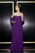Chiffon Asymmetric Purple Mother of the Bride Dress With Shawl