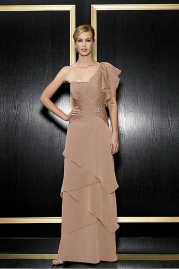 Chiffon One Shoulder Drop Waist Layered Mother of the Bride Dress