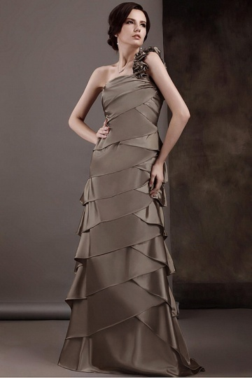 A Line One Shouler Tiered Long Mother of the Bride Dress