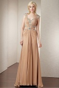 A Line Floor Length Chiffon Mother of the Bride Dress
