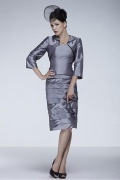 Fantastic Taffeta Sheath Beaded Tiered Knee Length Mother of the Bride Dress