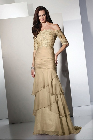 Long Chiffon Mermaid Mother of the Bride Dress With Lace Appliques