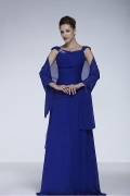 A Line Scoop Beaded Floor Length Chiffon Mother of the Bride Dress