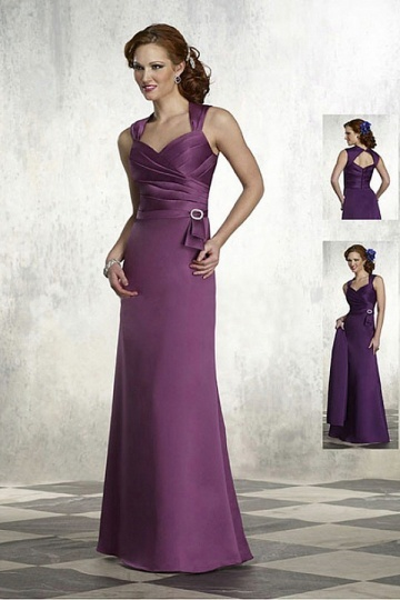 Satin A line Sweetheart Sleeveless Long Mother of The Bride Dress
