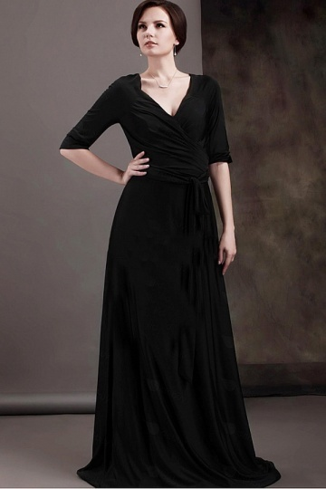 Dressesmall Simple Chiffon V Neck Half Sleeves Floor Length Mother of the Bride Dress
