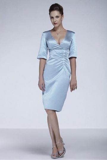 Satin V Neck Half Sleeves Knee Length Mother Of The Bride Dress