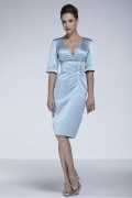 Satin V Neck Half Sleeves Knee Length Mother Of The Bride Dress