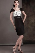 Graceful Satin&Chiffon Sheath Column Bateau Neckline Cap Sleeves Knee Length Mother of the Bride Dress
