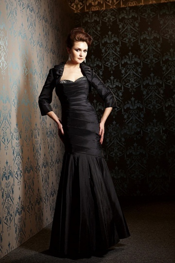 Black Taffeta Mermaid Sweetheart Long Mother of the Bride Dress with Jacket