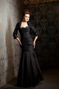 Black Taffeta Mermaid Sweetheart Long Mother of the Bride Dress with Jacket