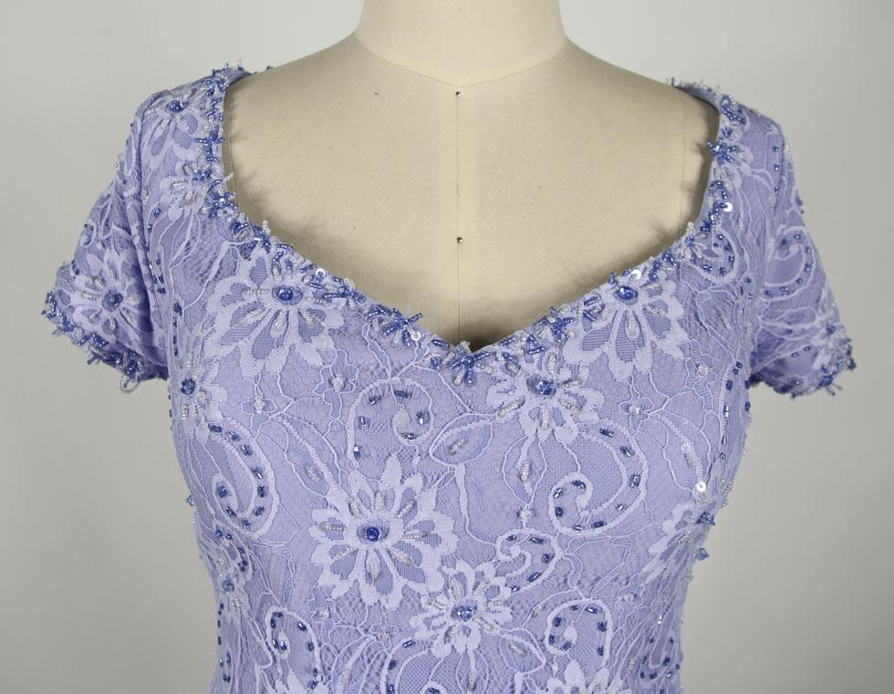 blue full length beaded mother of the bride dress v neck details