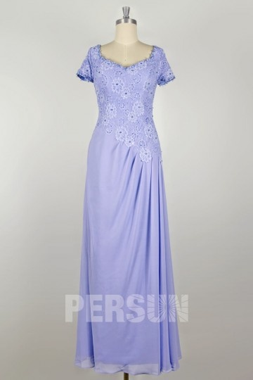 Lace Chiffon A line V Neck Long Beaded Mother of the Bride Dress
