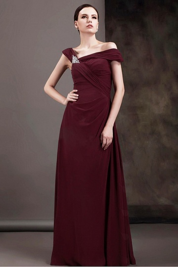 Chiffon A Line Beaded Sleeveless Long Mother of the Bride Dress