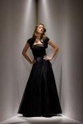 Bodenlanges aus Organza und Satin Mode für Brautmutter mit Jacke