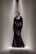 Lunghe Maniche nero lunghezza completa scoop Abito da Mamma Sposa Disegnata alla Moda