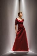 Red A Line Long Off Shoulder Satin Mother of the Bride Dress with Sleeves