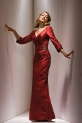 Elegant full length Taffeta sheath V neck red tone Mother of the Bride Dress in Fashion Design
