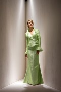 Elegant Floor Length V Neck Mother of the Bride Dress with Long Sleeves Jacket
