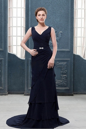 A Line V Neck Floor Length Beaded Chiffon Mother of the Bride Dress
