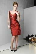 Elegant knee length sheath Red tone V neck Mother of the Bride Dress