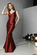 Elegant Taffeta V Neck Mermaid Full Length Red tone Mother of the Bride Dress(including the coat)
