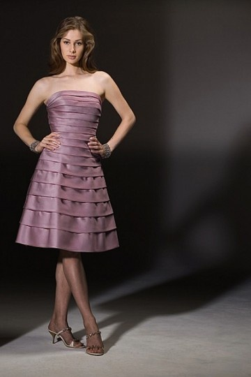 Dressesmall Elegant Satin Strapless A line Knee length Tiered Mother of the Bride Dress