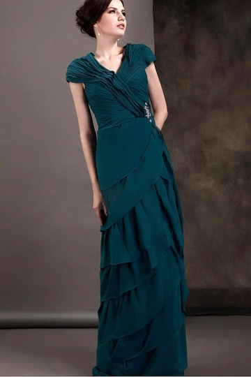 Dressesmall Graceful Chiffon Sheath V Neck Floor Length Tiered Mother of the Bride Dress