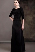 Fantastic Lace&Satin A line Round Neckline Half Sleeves Floor length Mother of the Bride Dress