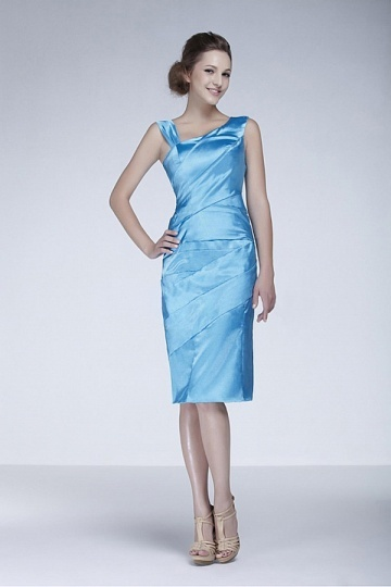 Dressesmall Gorgeous Stretch Satin Sheath Deflected V neck Neckline Knee length Mother of the Bride Dress