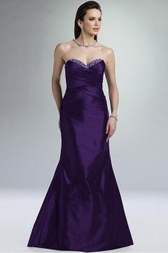 Sexy Sweetheart Taffeta Backless Trumpet Purple Prom Dress