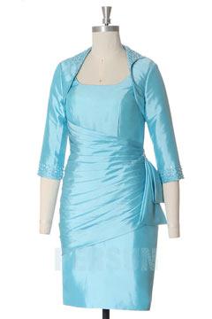 Tailleur turquoise courte fourreau encolure carrée en taffetas