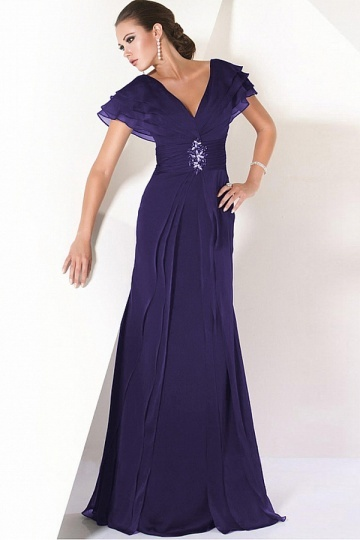 Dressesmall Glamorous Chiffon A Line V Neckline Full Length Mother of the Bride Dress With Buckle