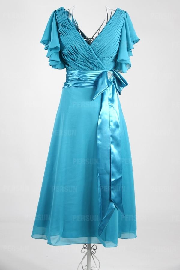 Robe mi longue bleue