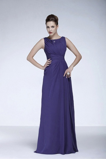 Dressesmall Elegant Chiffon A line Bateau Neckline Tank Sleeves Raised Waist Full Length Mother of the Bride Dress