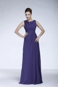 Elegant Chiffon A line Bateau Neckline Tank Sleeves Raised Waist Full Length Mother of the Bride Dress