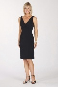 Vestido mãe de casamento decote em V simple preto em Chiffon na altura do joelho