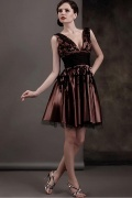 Vintages Kurzes V Ausschnitt Empire Applikation Abendkleid aus Satin