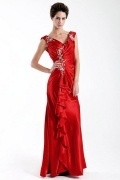 Gorgeous Stretch Satin Sheath V neck Neckline Tank Sleeves Full Length Ruched Mother of the Bride Dress