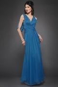 Vestido de mãe de noiva decote em V em Chiffon pregueado linha A