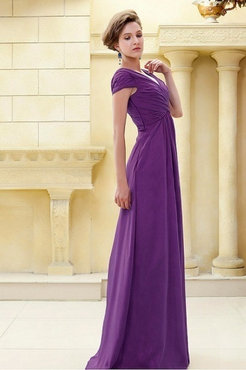 Dressesmall Glamorous Chiffon A line V neck Neckline Cap Sleeves Raised Waist Full Length Mother Dress