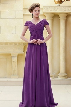 Elegant V Neck Cap Sleeves Chiffon Floor Length Purple Bridesmaid Dress